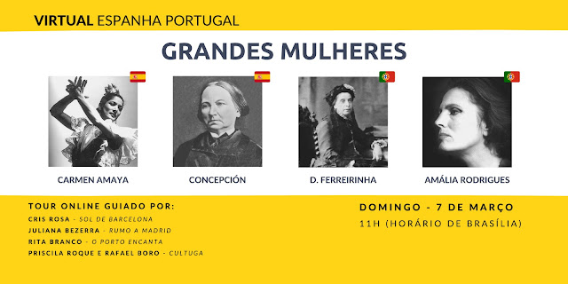 Cartaz sobre o tour virtual espanha portugal - Mulheres