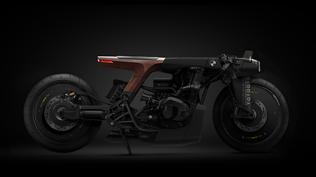 Custom BMW R Nine T Concept. Matte black and low.