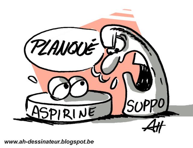 Dessin d'humour, discussion entre un suppositoire et une aspirine