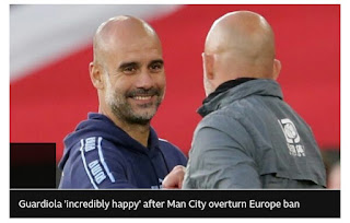 Manchester City manager presumes his club deserve an apology after CAS reverse their ban from European club competitions