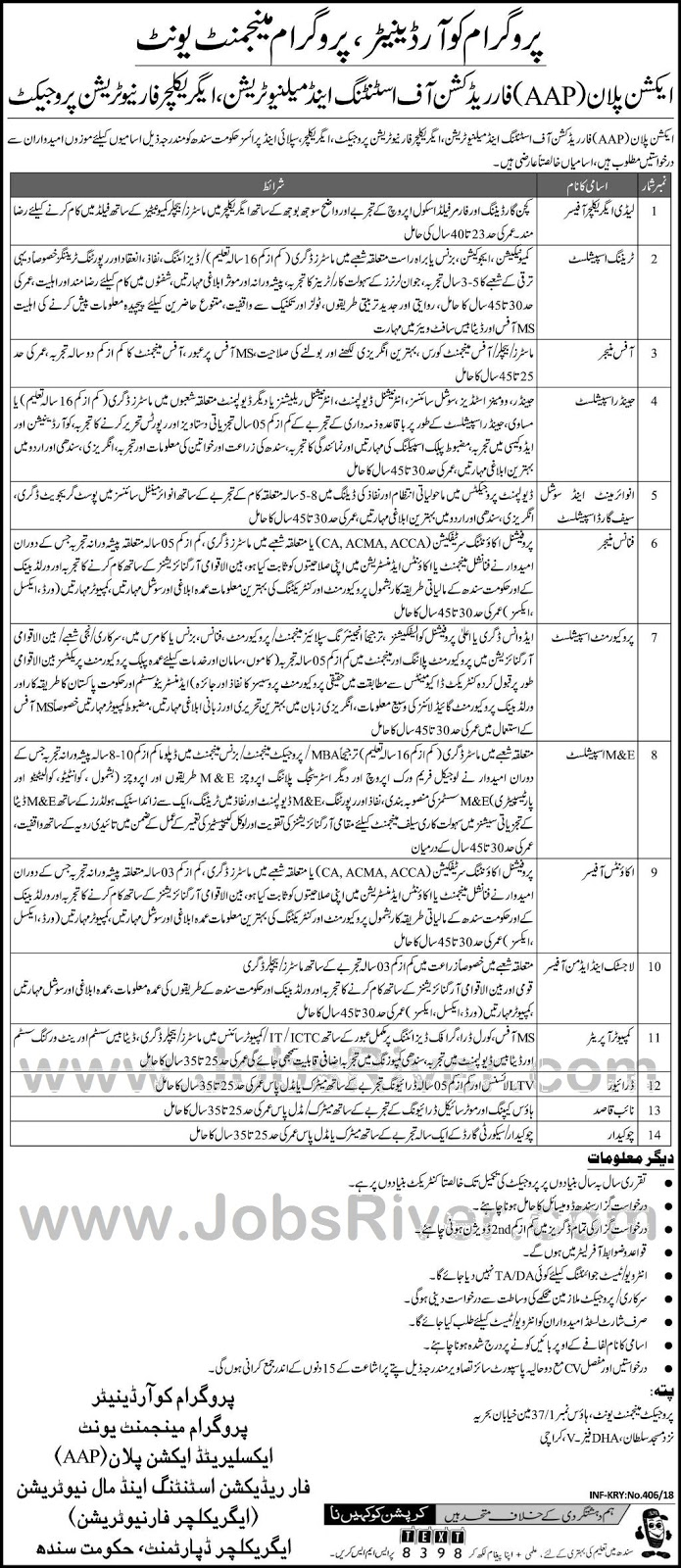 Jobs In Agriculture Department Govt Of Sindh Karachi January 2018