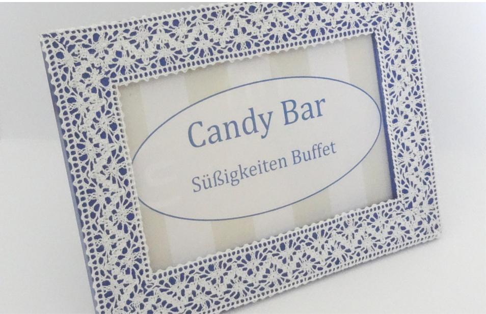 Bilderrahmen mit spitze als Beschriftung für Candybar