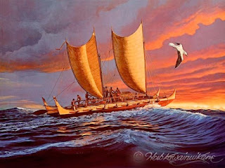 Hōkūleʻa sailing in the sea with a bird flying in the air