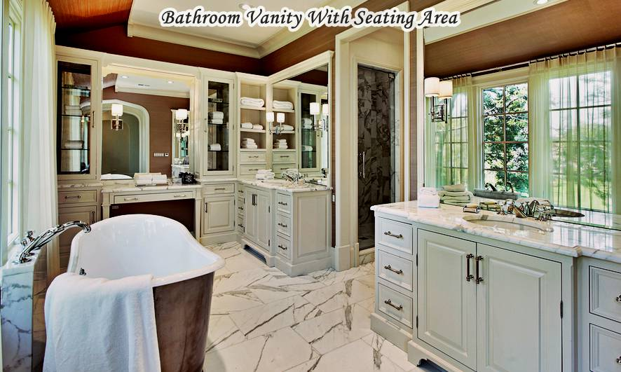 Luxurious Bathroom Vanity With Seating Area
