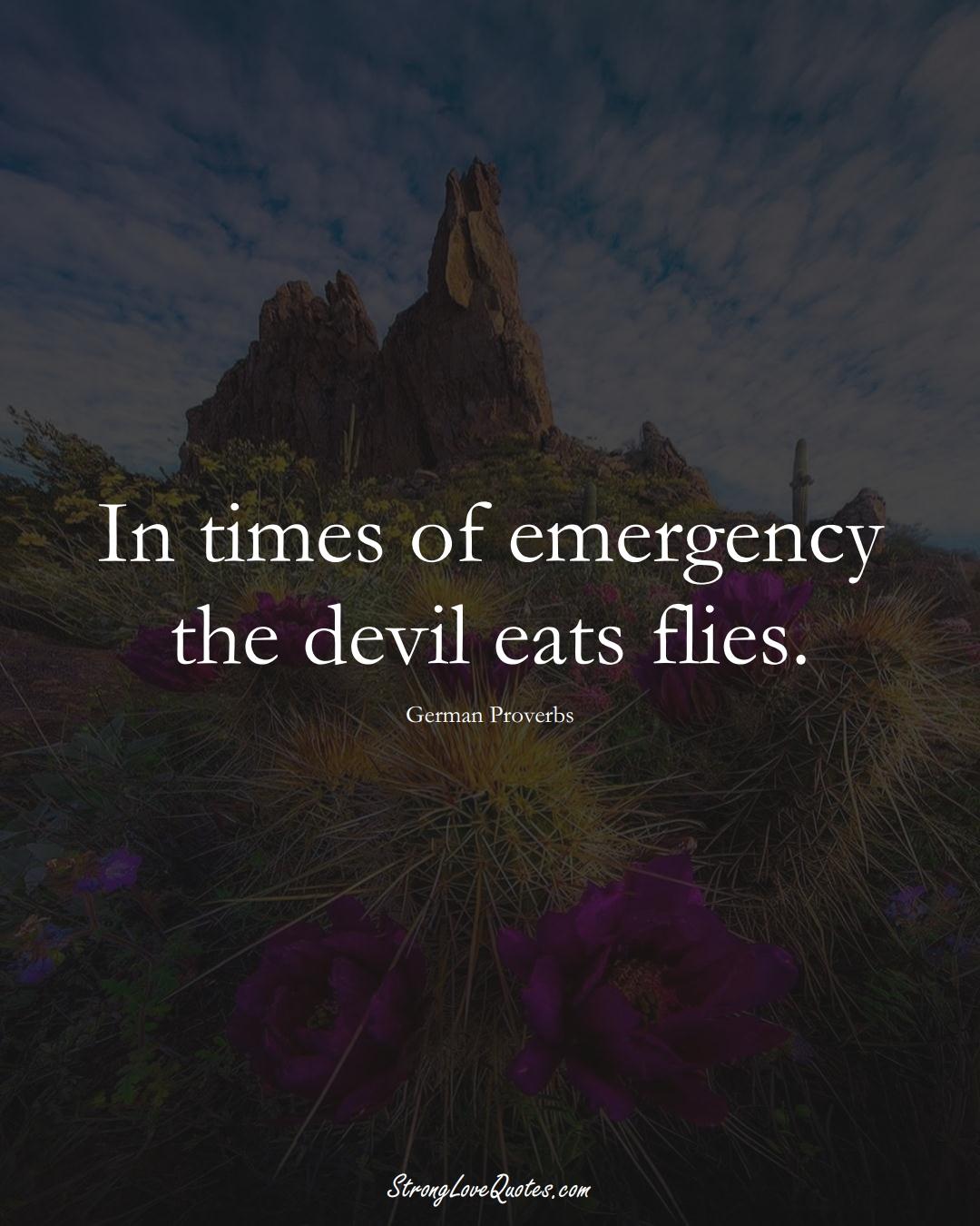 In times of emergency the devil eats flies. (German Sayings);  #EuropeanSayings