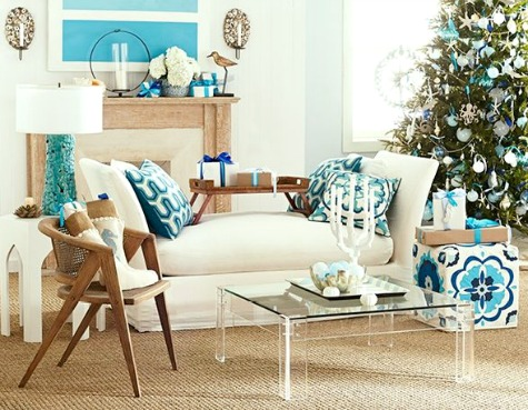 Blue Coastal Christmas Living Room Idea