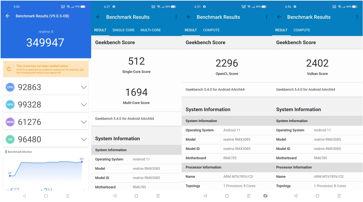 realme 8 - AnTuTu and Geekbench Benchmark Results