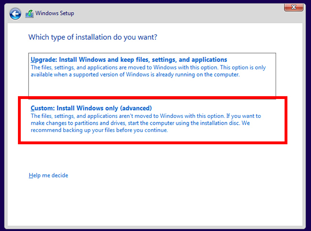 Install Windows only advanced