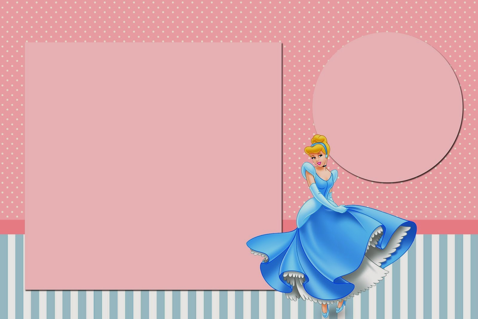 cinderella invitation to the ball template - cinderella in pink and light blue free printable