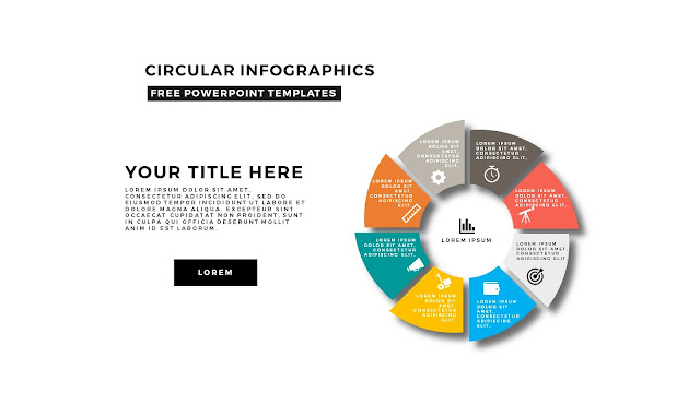 Circular Infographics Free PowerPoint Template with icons and 8 steps