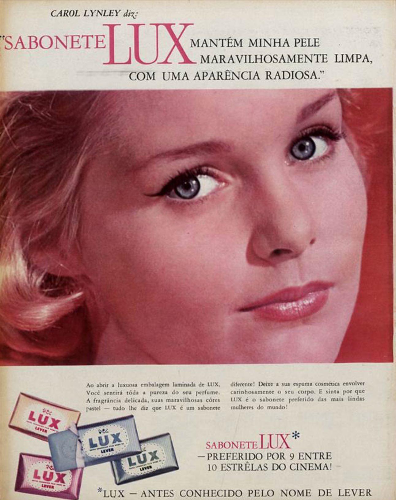 Anúncio antigo do sabonete Lux apresentado em 1964