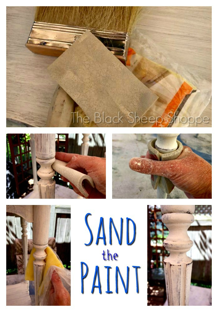 Photo collage of sanding chalk paint