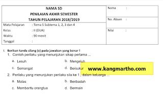 Contoh Soal UAS/PAS K13 SD Kelas 2