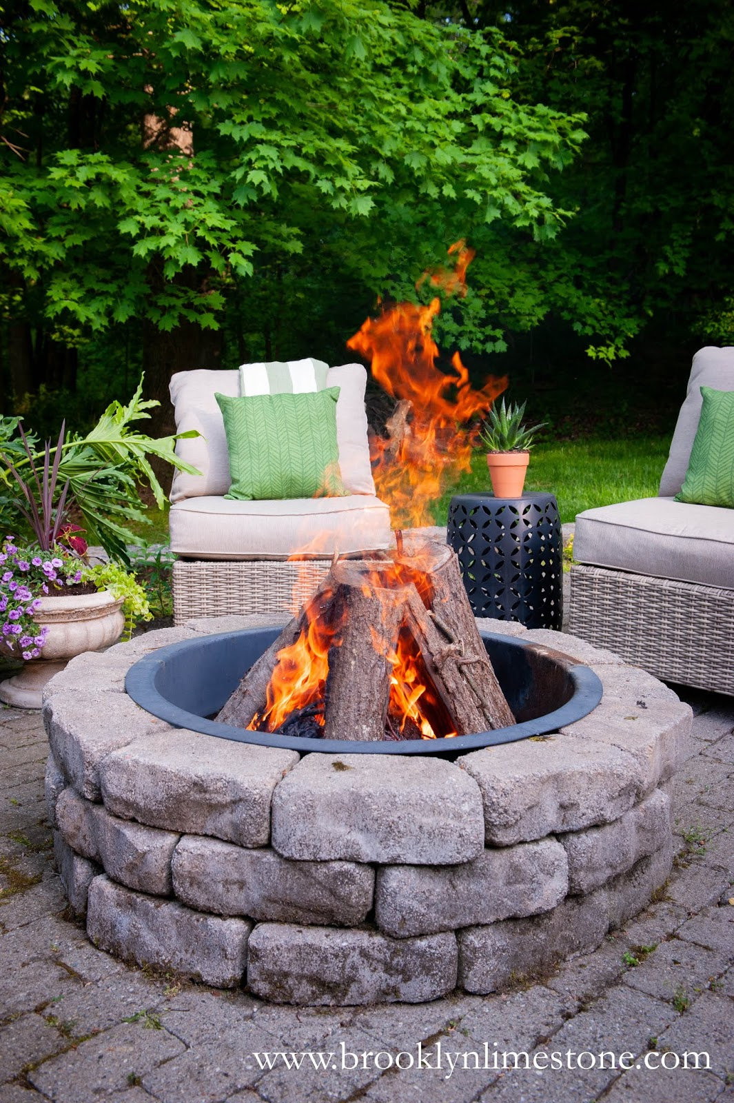 diy firepit kit on patio