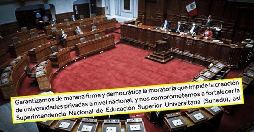 Congreso emite comunicado «bamba» sobre moratoria para creación de universidades