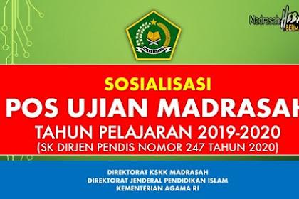 Download POS Ujian Madrasah Tahun 2020, SK DIRJEN PENDIS NOMOR 247 TAHUN 2020