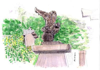 逆立ち狛犬 河守神社
