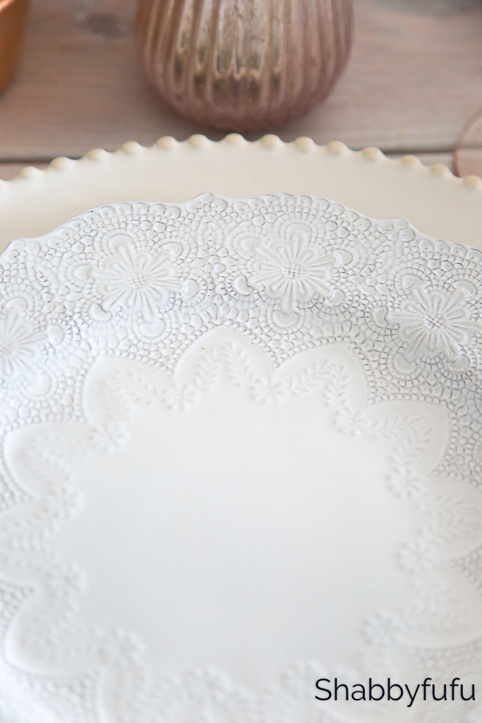 lace pattern white dishes