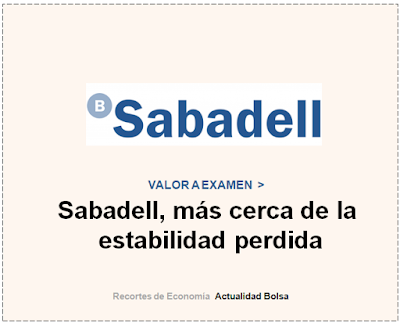 BANCO SABADELL, VALOR A EXAMEN en Cinco Días.  3 de Noviembre 2019.