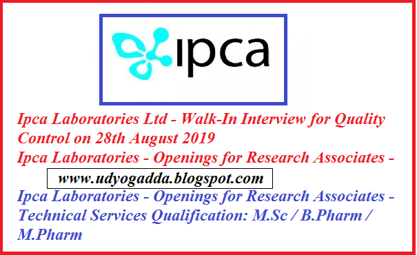 Openings for Research Associates & Other vacancies @ Ipca