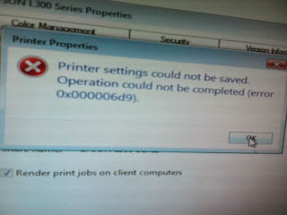 Printer Settings Could Not Be Saved. Operation Could Not Be Completed. Error 0x00006d9