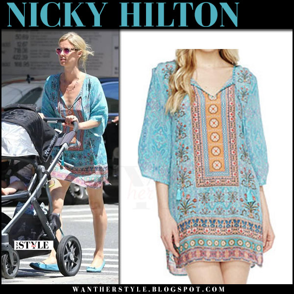 Nicky Hilton in turquoise printed mini tunic dress tolani evie what she wore june 20 2017