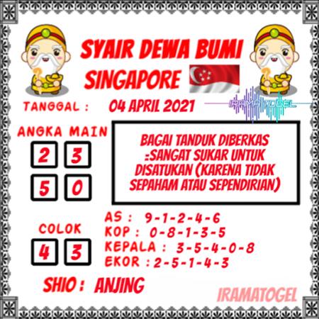 Prediksi Syair Dewa Bumi SGP Minggu 04 April 2021