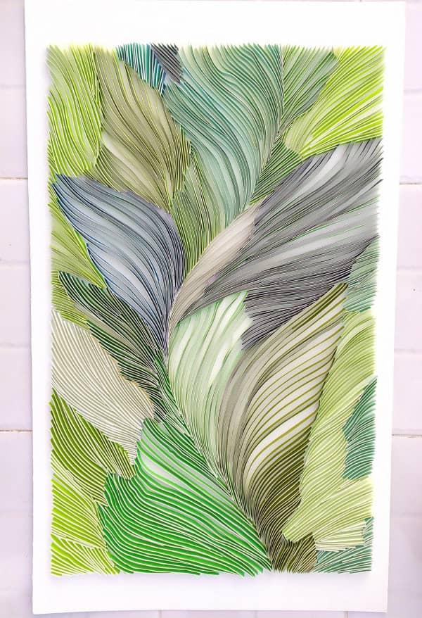 Large-scale quilled leafy green abstract wall art