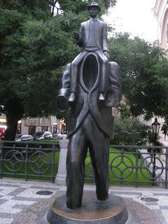 Statue of Franz Kafka on Vězeňská Street