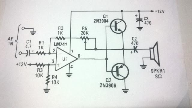الدائرة الالكترونية لمكبر صوت بسيط بواسطة lm741