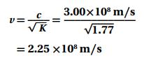 إذا كان ثابت العزل الكهربائي للماء 1.77 فما مقدار سرعة انتقال الضوء في الماء 1
