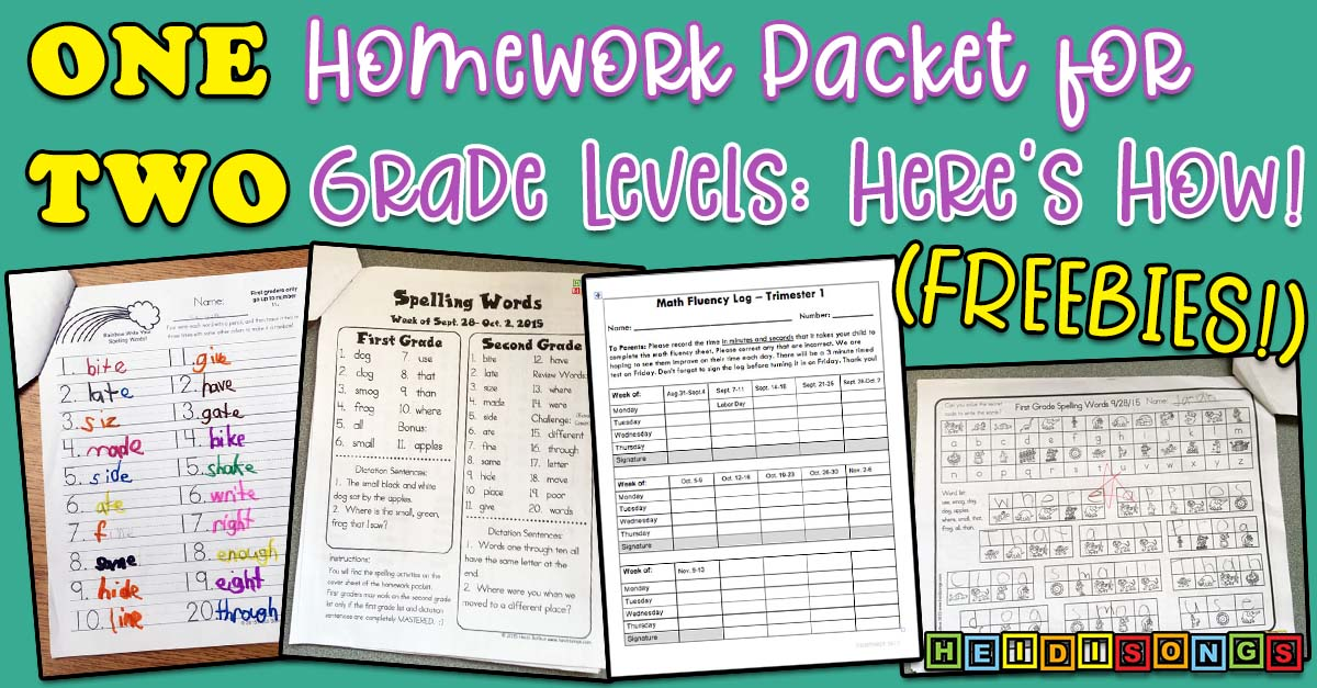One Homework Packet For Two Grade Levels Here S How
