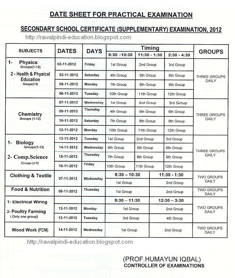 DATE SHEET BOARD OF INTERMEDIATE AND SECONDARY EDUCATION