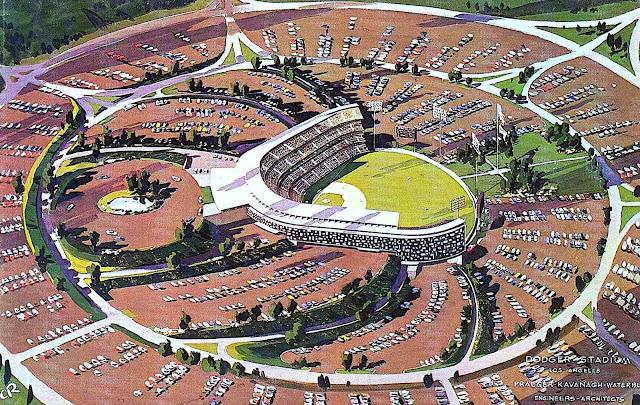 a 1962 conceptual baseball stadium, birdseye view