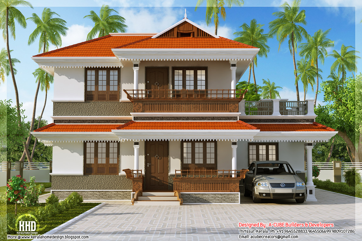 Kerala model home plan in 2170 kerala home for Kerala style 2 bedroom house plans