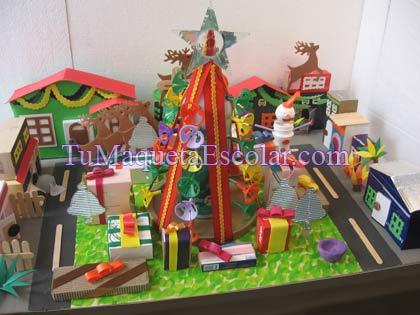 barrio navideño con cartones y plasticos reciclados
