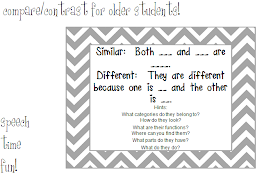 Speech Time Fun: Compare & Contrast for Older Students!