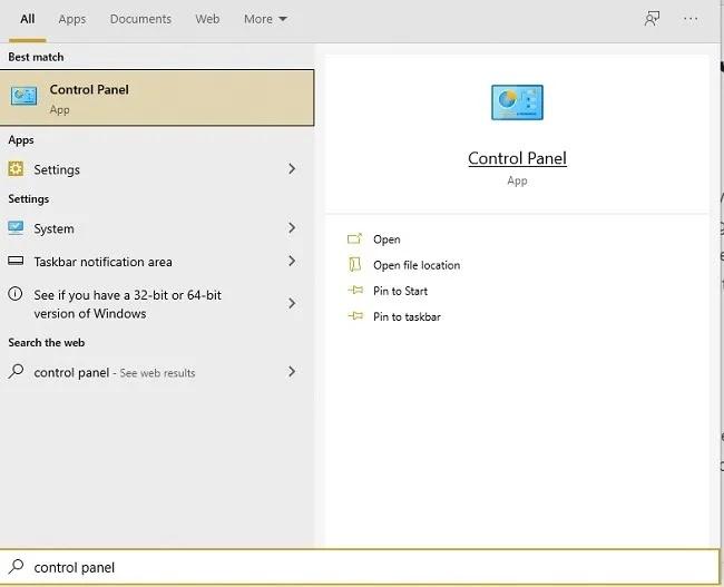 طرق فتح لوحة التحكم في نظام التشغيل Windows 10 ، ابدأ البحث