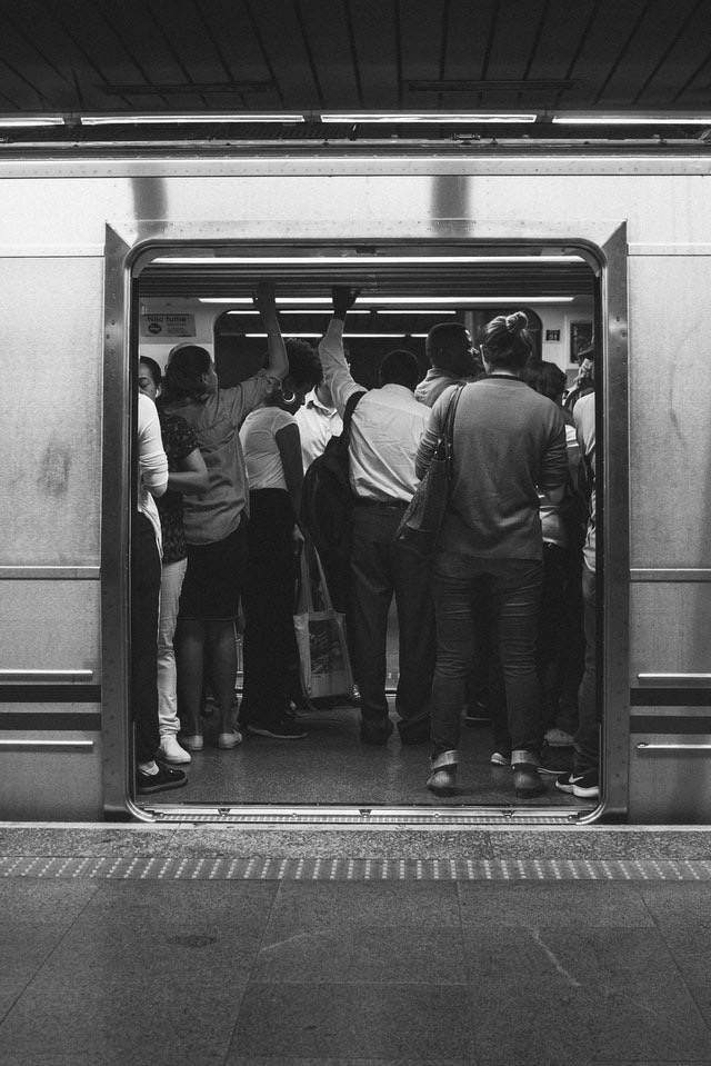 A crowded train after the COVID-19 pandemic