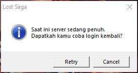 Pesan Error Server sedang penuh Lost Saga Remastered