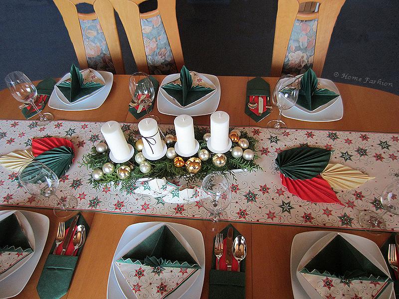Tischdekoration Grüne Weihnachten Home Fashion Servietten Und