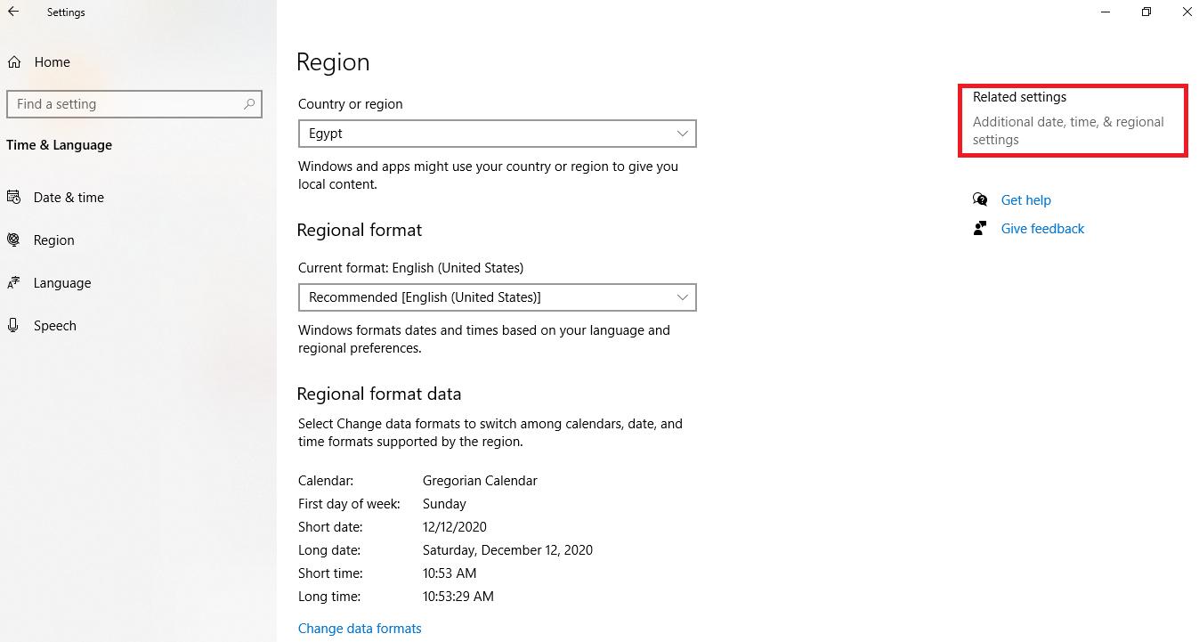 4 - الضغط على Additional date, time, & regional settings.