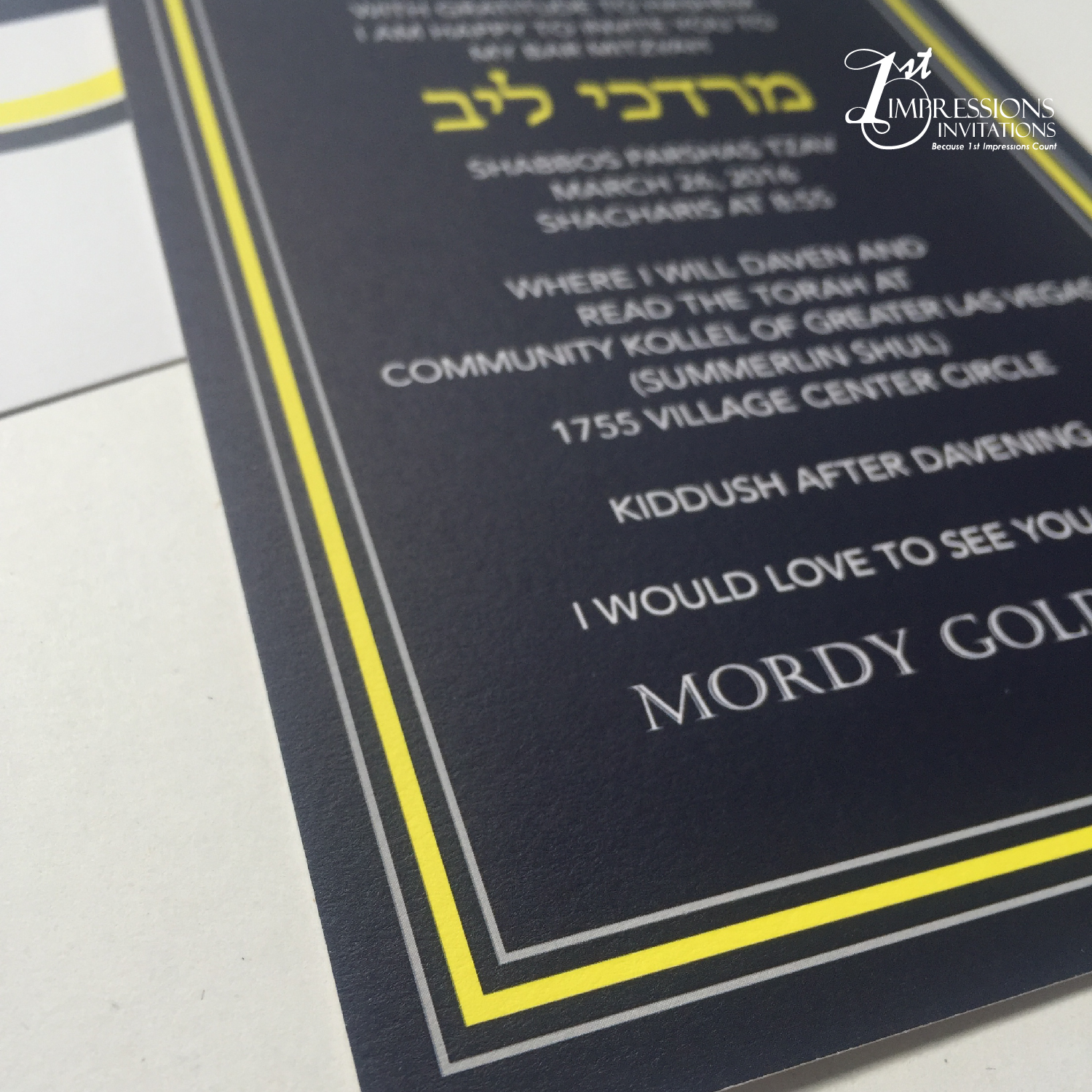 1st impressions invitations blue and yellow modern bar mitzvah