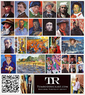 Boulder Portrait Artist Tom Roderick collage of self portrait interperations