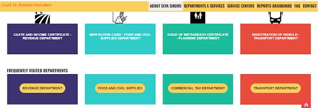 Citizen Services On Seva Sindhu website