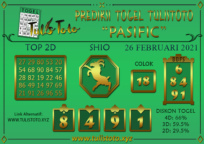 Prediksi Togel PASIFIC TULISTOTO 26 FEBRUARI 2021