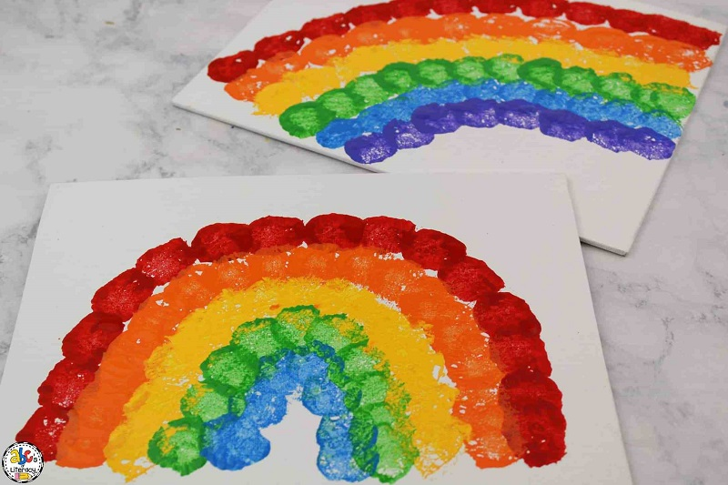 rainbow cotton ball painting
