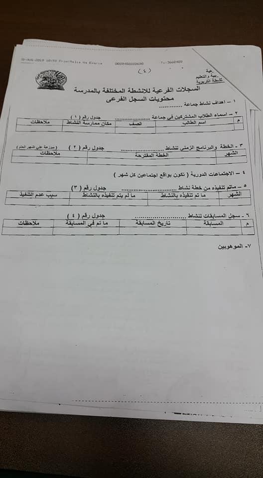 خطة الأنشطة بالمدارس وإختصاصات مشرف الأنشطة للعام الدراسي 2019 / 2020 4