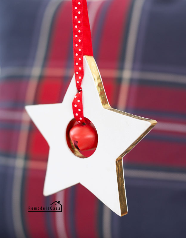 Jingle bell start ornament - white and red