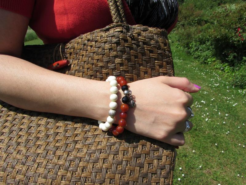 basket bag and handmade bracelets